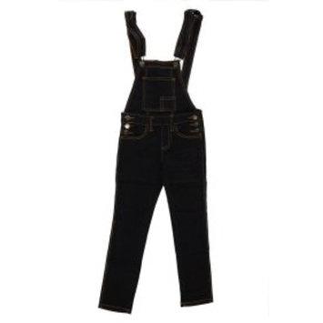 Girls Kids Double Front Pocket Side Button Denim Long Pants Overall JGOP-001A-8-Black