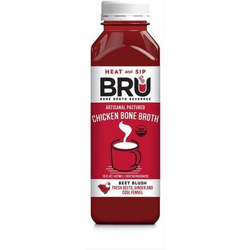 AS SEEN ON DR. OZ | BRU Bone Broth | Gluten-Free 100% USDA Organic Artisanal Pastured Chicken Bone Broth + Fresh HPP Cold-Pressed Veggie & Root Juice... [Beet Blush]