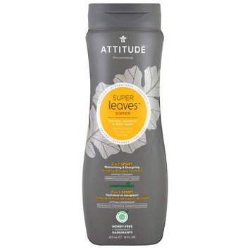 ATTITUDE, Super Leaves Science, Natural Shampoo & Body Wash, 2 in 1 Sport, Ginseng & Grape Seed Oil, 16 oz (473 ml) [Scent : Ginseng & Grape Seed Oil]