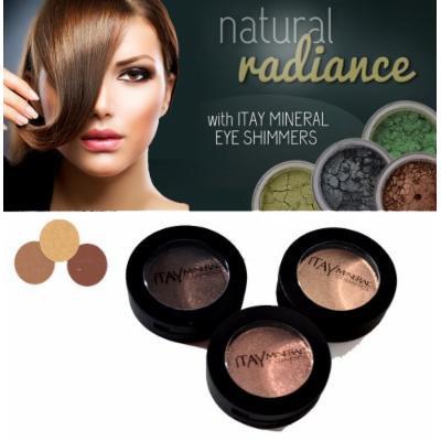 3x Itay Beauty Pressed Mineral Eye Shadow Set (1.9.31) 3x2.5g Each Natural Eyes+ A-viva Nail Buffer