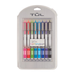 TUL Retractable Gel Pens, Needle Point, 0.7mm, Gray Barrel, Assorted Bright Ink Colors, Pack Of 8