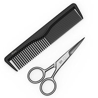 Sterling Beauty Tools 4 Inch Facial Hair Scissors for Beards, Mustaches, Eyebrows, Nose Hair, Ear Hair and Personal Care Trimming with Bonus Styling Comb and PVC Storage Bag