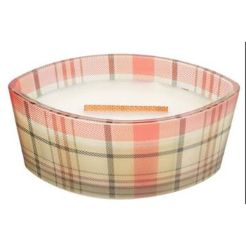 WHITE TEAK - Plaid Ellipse HearthWick Flame Scented Candle by WoodWick