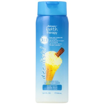 Belcam Bath Therapy 3 in 1 Body Wash, Bubble Bath and Shampoo, Sweet Vanilla, 16.8 Fluid Ounce