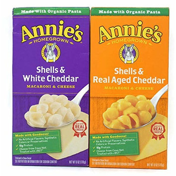 Variety Pack - Annies Homegrown Macaroni & Cheese (6 Oz) - Shells & Real Aged Cheddar, Shells & White Cheddar