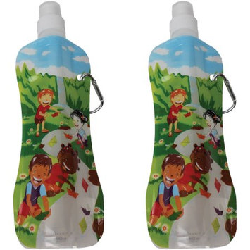 Fresh Baby 10-Ounce Collapsible Water Bottle, Waterfall Design, 2-Pack