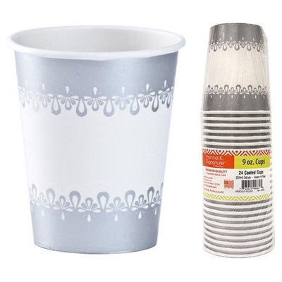 Hanna K Signature 2184940 9 oz Precious Silver Paper Hot-Cold Cup - Pack of 36 & 24 per Pack