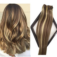 Labetti Clip in Human Hair Extensions 7 Pieces Per Set Medium Brown with Blonde Highlights Silky Straight Soft Weft Remy Hair (15 Inches, 4-613)
