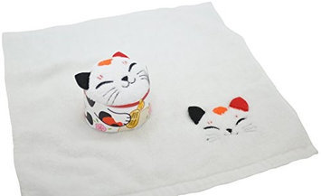 Couture Towel CT-TPMN001401 14 x 13 in. Maneki Neko Towel White & Multicolor