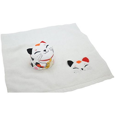 Couture Towel CT-TPMN001401 14 x 13 in. Maneki Neko Towel White & Multicolor