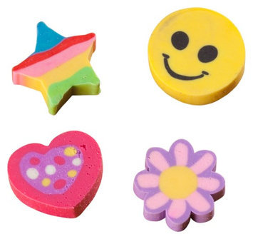 Bulk Buys Flower and happy face erasers Case Of 24
