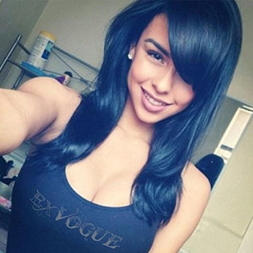 Exvogue Deep Royal Blue Synthetic Hair Medium Length Wigs with Side Fringe Bangs Slight Wave for Women