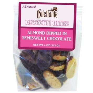 Toasted Almond Biscotti Bites Dipped in Semisweet Chocolate - All Natural, Bite Sized - 4oz Bag - by Dilettante (6 Pack)