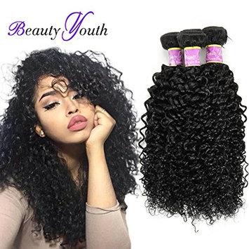 Beauty Youth 7A Brazilian Virgin Curly Hair 3 Bundles 100% Unprocessed Virgin Kinky Curly Human Hair Weave Natural Black Hair Color 95-100g/pc 16 18 20