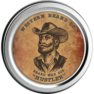 Mustache Wax with Beeswax, Shea Butter & Argan Oil - All Natural Leave-In Wax Conditioner for Men - Styles, Strengthens & Thickens During Beard Growth - Hustler Scent (2oz)