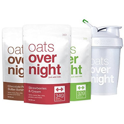 Oats Overnight with BlenderBottle (3oz per pack) High Protein/Low Sugar