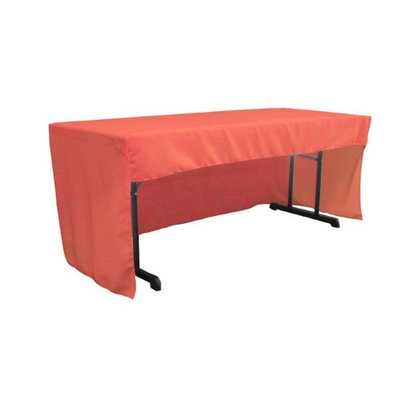 LA Linen TCpop-OB-fit-72x30x30-CoralP55 1.95 lbs Open Back Polyester Poplin Fitted Tablecloth Coral