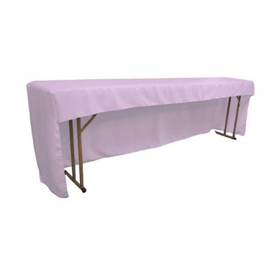LA Linen TCpop-OB-fit-96x18x30-LilacP45 Open Back Polyester Poplin Fitted Tablecloth for Classroom Tables Lilac