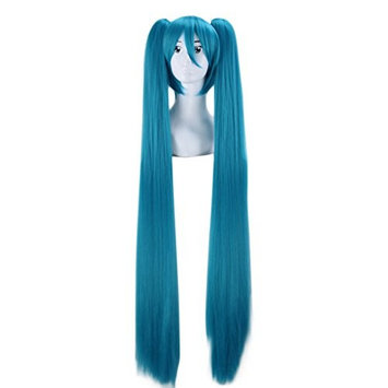 Long Straight Hatsune Miku Wig Vocaloid Wig 120cm Ponytail Cosplay Wigs (Blue)