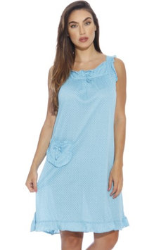 Dreamcrest Polka Dot Nightgown / Women Sleepwear / Womans Pajamas (Bright Blue, Large)