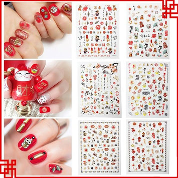 Dadiii Chinese New Year Nail Stickers Art Tattoo Decals Self-adhesive Sticker Nail Wraps with Spring Festival Chinese style Designs Good Fortune Good Luck (6 Sheets)