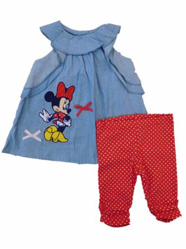 Disney Infant Girls Minnie Mouse Outfit Denim Shirt & Red Polka Dot Pants 24m