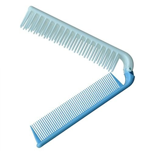 "Demarkt 7.4"" Travel Comb Skyblue Coarse Teeth Folding Dual Hair Brush Pocket Comb"