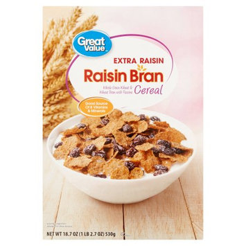 Wal-mart Stores, Inc. Great Value Raisin Bran Extra Raisin Cereal, 18.7 oz