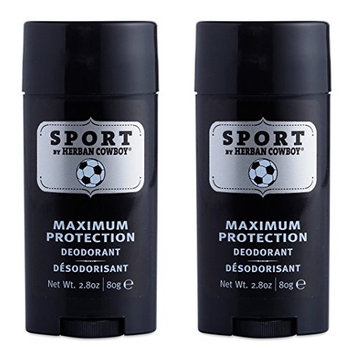 Herban Cowboy Natural Grooming Maximum Protection Deodorant, Sport Scent (Pack of 2) with Aloe Vera, Rice, Rosemary, Parsley and Sage, Organic and 100% Vegan, Paraben and Aluminum Free, 2.8 oz each