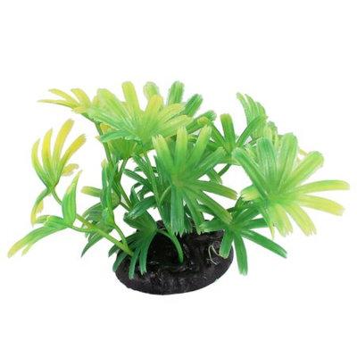 Black Ceramic Base Aquascaping Yellow Green Plastic Ornamental Plant 2.4