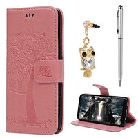 Galaxy S8 Wallet Case, Embossed Owl with Kickstand, Card Holder, Magnetic Flip Premium PU Leather Soft TPU Inner Bumper Full Protective Cover Case for Samsung Galaxy S8 - Pink