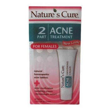 Nature's Cure Two-part Acne Treatment System, for Women, 60 Tablets, 1 Ounce Cream - 3 MONTH SUPPLY by Nature's Cure
