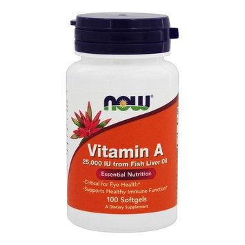 NOW Foods Vitamin A 25000 IU, 100 Softgels-2 Pack