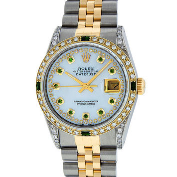 Pre-Owned Rolex Mens Datejust Steel & 18K Yellow Gold MOP Diamond & Emerald Watch 16013 Jubilee