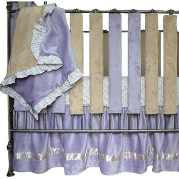 Go Mama Go Designs Luxurious Oversized Lavender Minky Blanket with Adorable Love Petals Print Ruffle