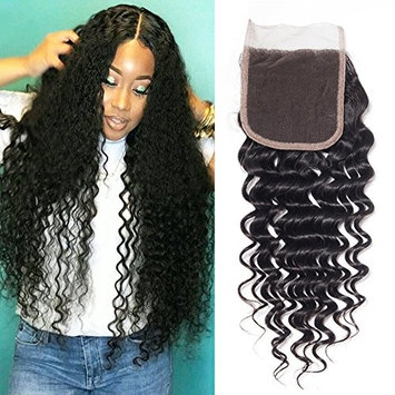 UDU Deep Wave Closure 4x4 Brazilian Deep Curly Closure Swiss Lace Closure Fee Part Bleached Knots Frontal Lace Closure 130% Density Natural Hairline Human Hair Closures Top Lace Hair 8