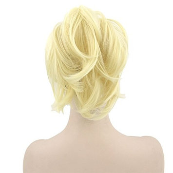 Women Curly Wavy Short Ponytail Claw Clip in Pigtail Heat Resistant Synthetic Fiber Hair Extensions 35 cm