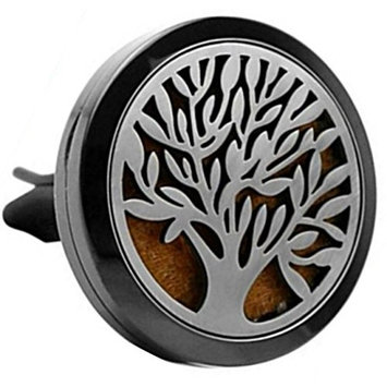 Adorit Essential Oil Car Aromatherapy Locket Diffuser Vent Clip Tree of Life 316L Stainless Steel Air Freshener with 12 Colorful Refill Pads… Enjoy Your Odor Free Stress Relief Car Ride!