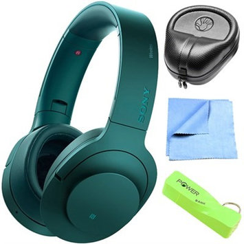 Sony Wireless NC On-Ear Bluetooth Headphone w/ NFC Viridian Blue w/ Power Bank Bundle