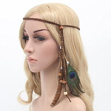 Usstore 1PC Women Headdress Bohemia Peacock Feather Headband Braid Hair Hoop Headband Lead Rope Hair Accessories