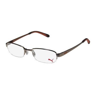 Puma 15323 Zen Mens/Womens Designer Half-Rim Light Brown Frame Demo Lenses 49-19-140 Spring Hinges Eyeglasses/Spectacles