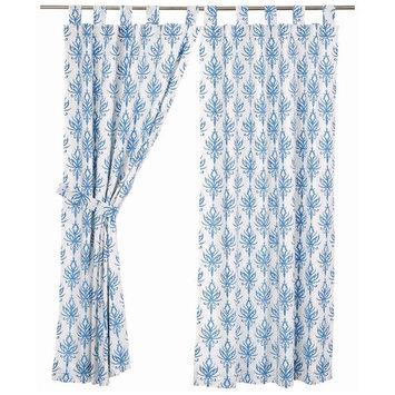 VHC Brands 29710 63 x 36 in. Laguna Tab Top Short Panel Lined, Set of 2 - Marshmallow, Cornflower Blue