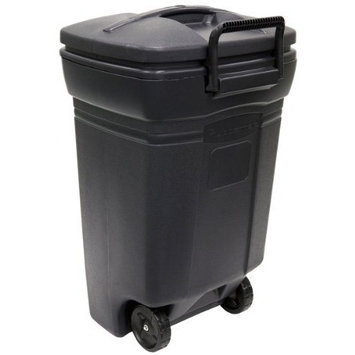 United Solutions Rubbermaid 45-Gallon Wheeled Rectangular Trash Can, Evergreen