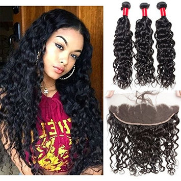 VIPbeauty 100 Human Hair Bundles with Lace Frontal (12 14 16+12) 10A Grade Water Wave3 Bundles with Ear to Ear Lace Frontal Bleached Knots with Baby Hair