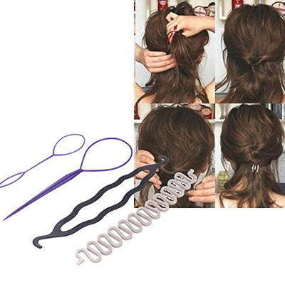 UltaBuild(TM) New 3 Kinds Magic Hair Styling Accessories Set Hair Pin Bun Maker Hair Braiding Twist Styling Tool for Women Beauty