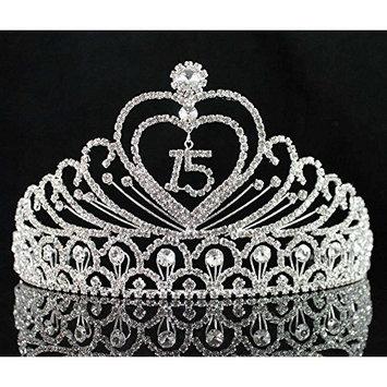 JANEFASHIONS Quinceanera 15 Fifthteen Birthday Rhiestone Tiara Crown with Hair Combs T1756