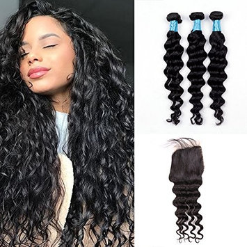 BLY 8A Brazilian Virgin Human Hair Loose Deep Wave 3 Bundles with Lace Closure -Unprocessed Remy Mink Loose Curly Hair Extensions Weave Natural Color