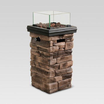 Chisholm 22 Tall Square LP Fire Column - Natural Stone - Threshold