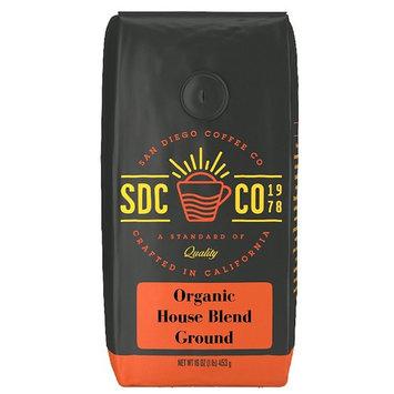 San Diego Coffee Organic House Blend Medium Roast, Ground, 16-Ounce Bag [Ground]