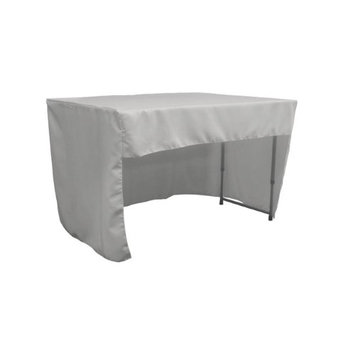 LA Linen TCpop-OB-fit-48x24x30-GrayLgtP41 1.42 lbs Open Back Polyester Poplin Fitted Tablecloth Light Gray